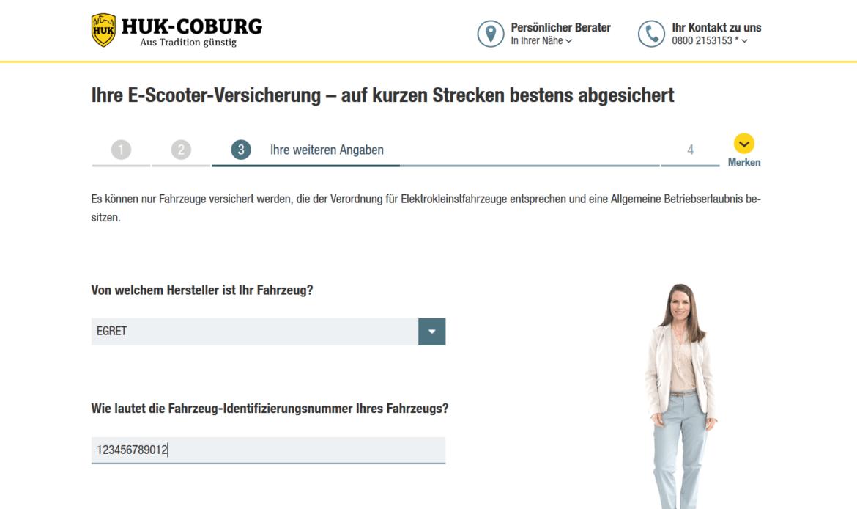 HUK-Coburg E-Scooter Versicherung Formular