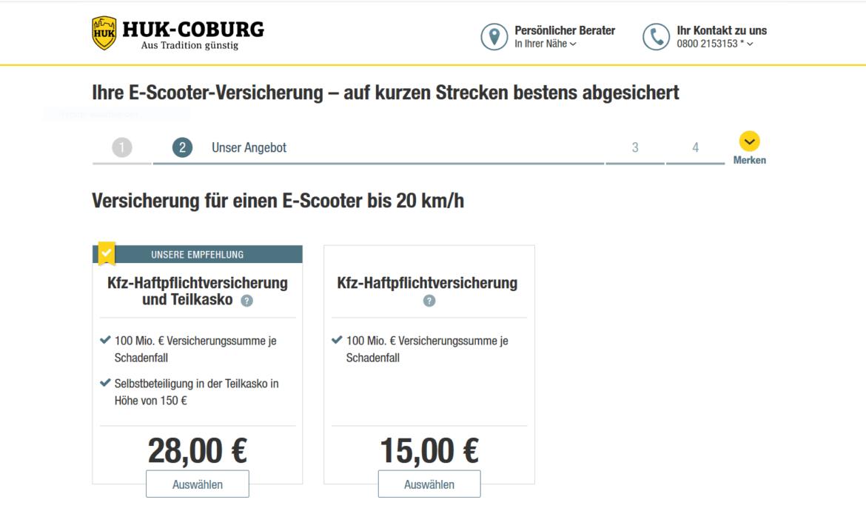 HUK-Coburg E-Scooter Versicherung